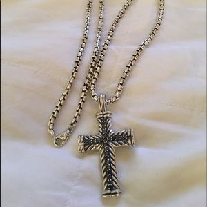 David Yurman Chevron Black Diamond Cross W Chain